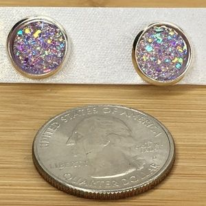 Jewelry - Purple Lavender Druzy Earrings